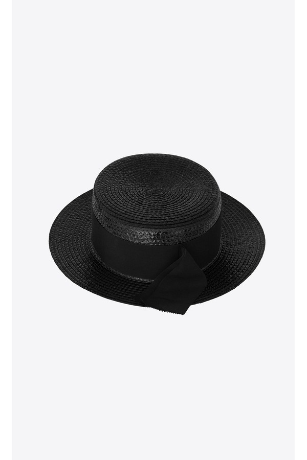 a4497705 Small Boater Hat In Varnished Straw by Saint Laurent at ORCHARD MILE