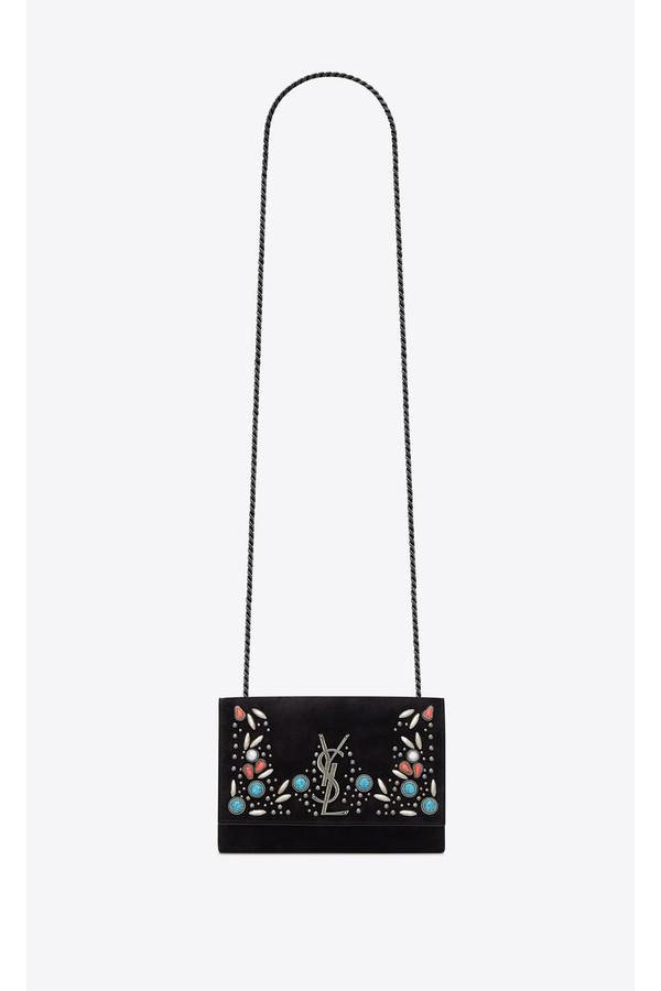294b82c0e250 Kate Berber Chain Bag In Black Suede With Multicolored Beads by...