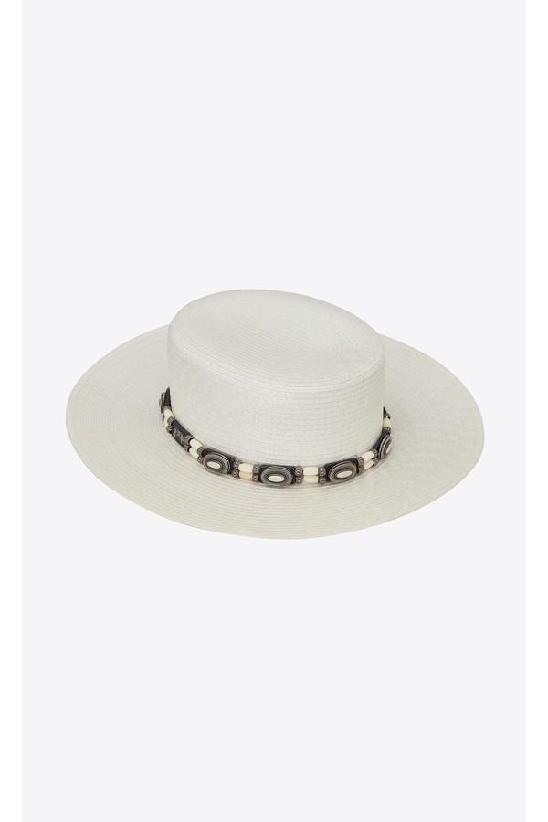 8d9ce997 Large Boater Hat In Varnished Straw by Saint Laurent at ORCHARD MILE