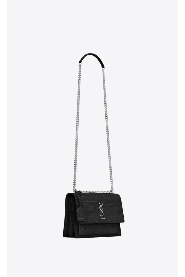 18068842a44 Sunset Medium In Crocodile Embossed Shiny Leather by Saint Laurent...