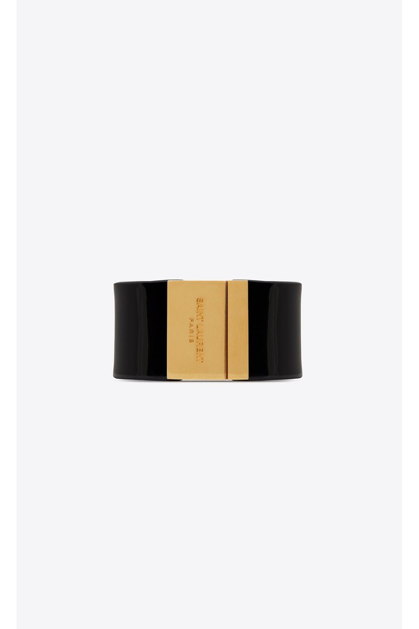 e222c313e3a Id Cuff Bracelet In Black Patent Leather And Gold-Tone Metal by...