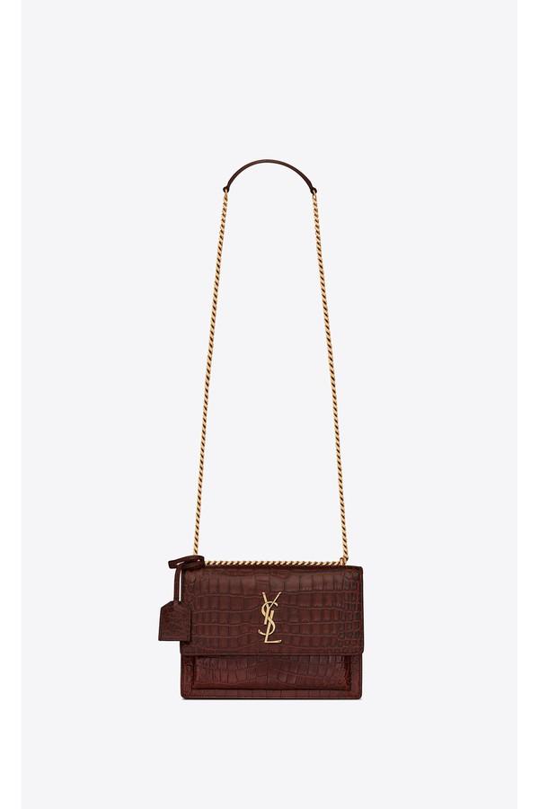 39ef00328f99 Saint Laurent. Medium Sunset Bag In Shiny Crocodile-Embossed Leather