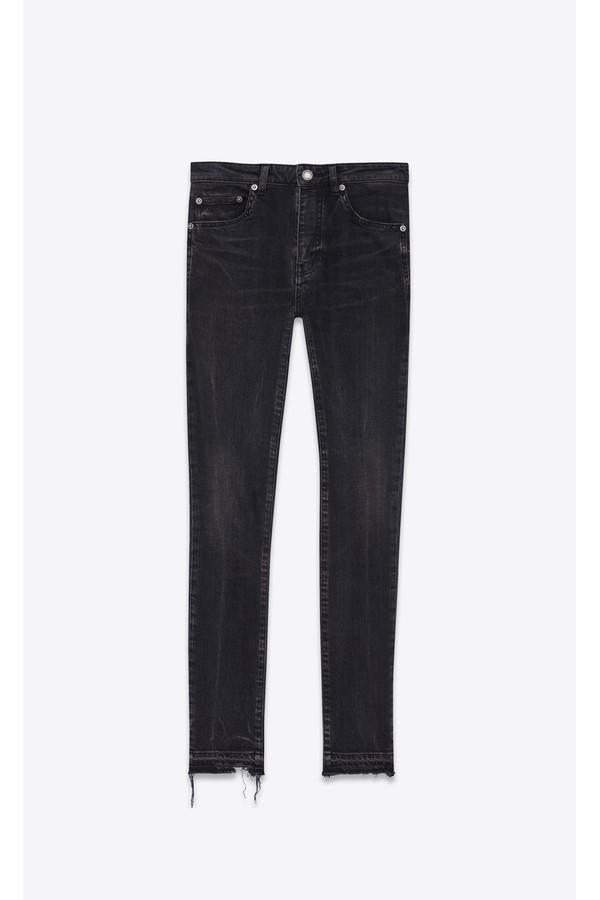 b30d158949 Frayed Skinny Jeans In Sandy Black Stretch Denim
