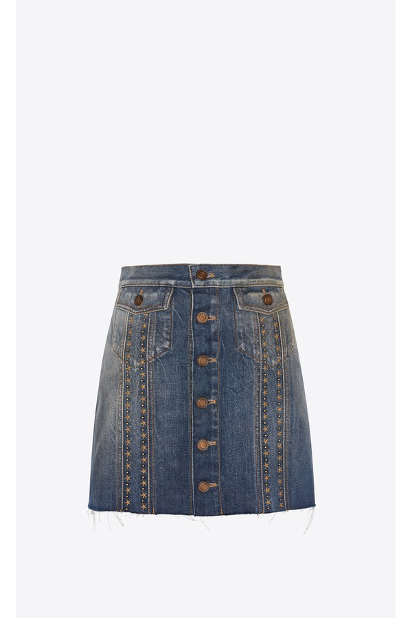 630bff90cb Skirt In Indigo Blue Denim Decorated With Star Stud Bands
