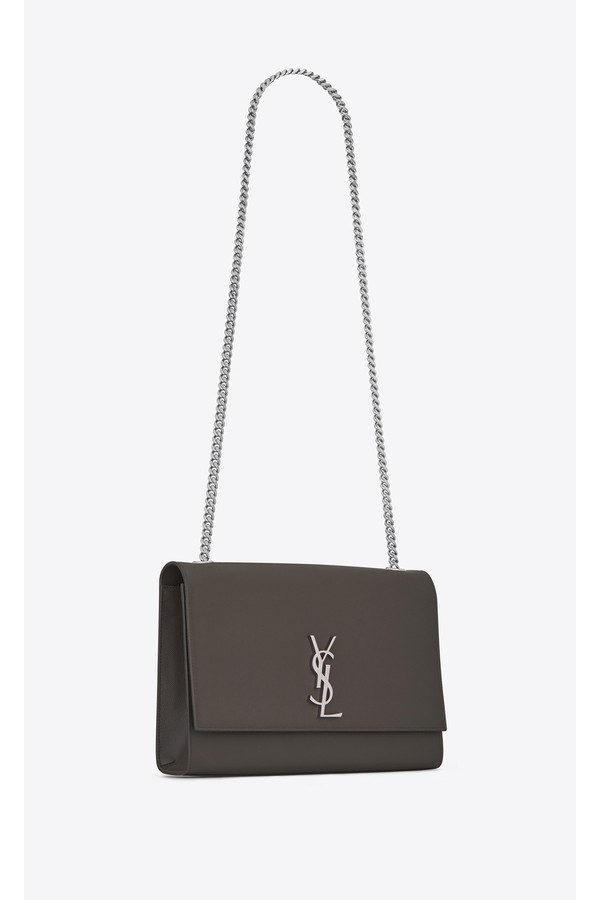 a83eb9a7dc62 Large Kate Chain Bag In Grey Textured Leather by Saint Laurent at...