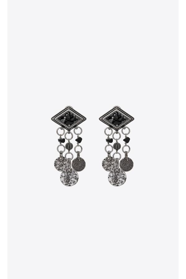 71a086b91b Marrakech Diamond-Shaped Earrings In Silver-Toned Tin With Tassels...