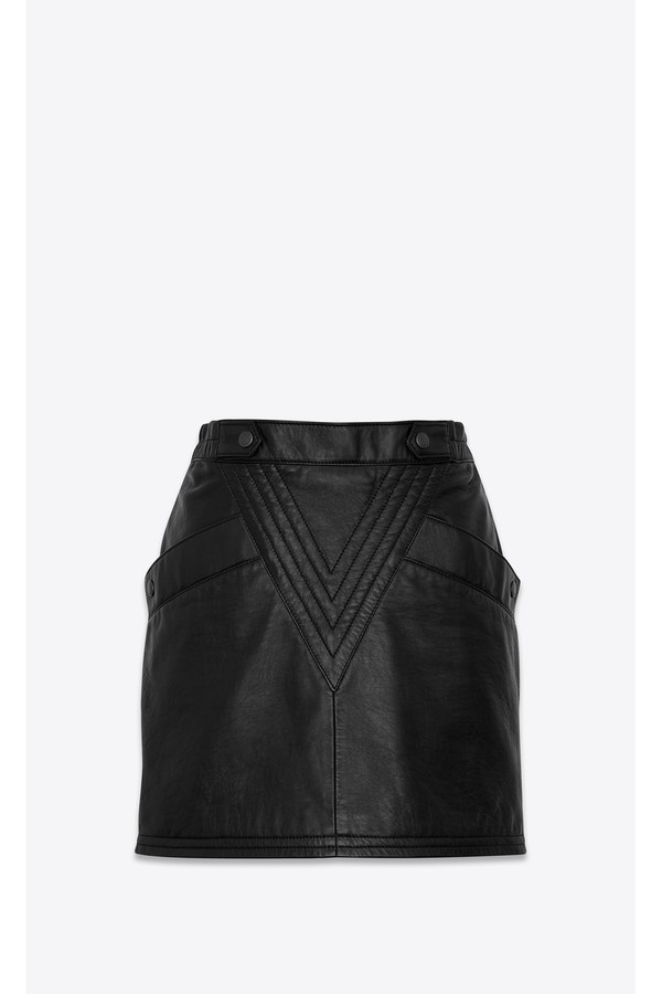 Saint Laurent Mini Skirt In Grained Lambskin